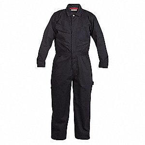 Long Sleeve Coveralls,Cotton/Poly,Nvy,L
