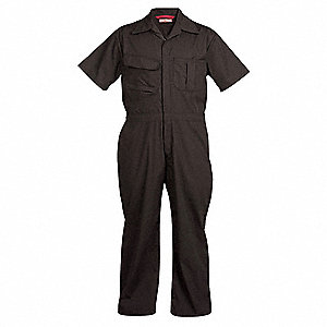 Short Sleeve Coveralls,Cott/Poly,Blk,XL