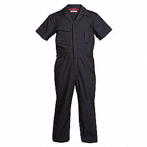 Short Sleeve Coveralls,Cotton/Poly,Nvy,M