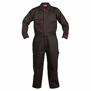 Long Sleeve Coveralls,Cotton/Poly,Blk,L