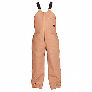 Men's Bib Overalls, Lining Material: Quilt Lined, Fits Waist Size: L, Brown