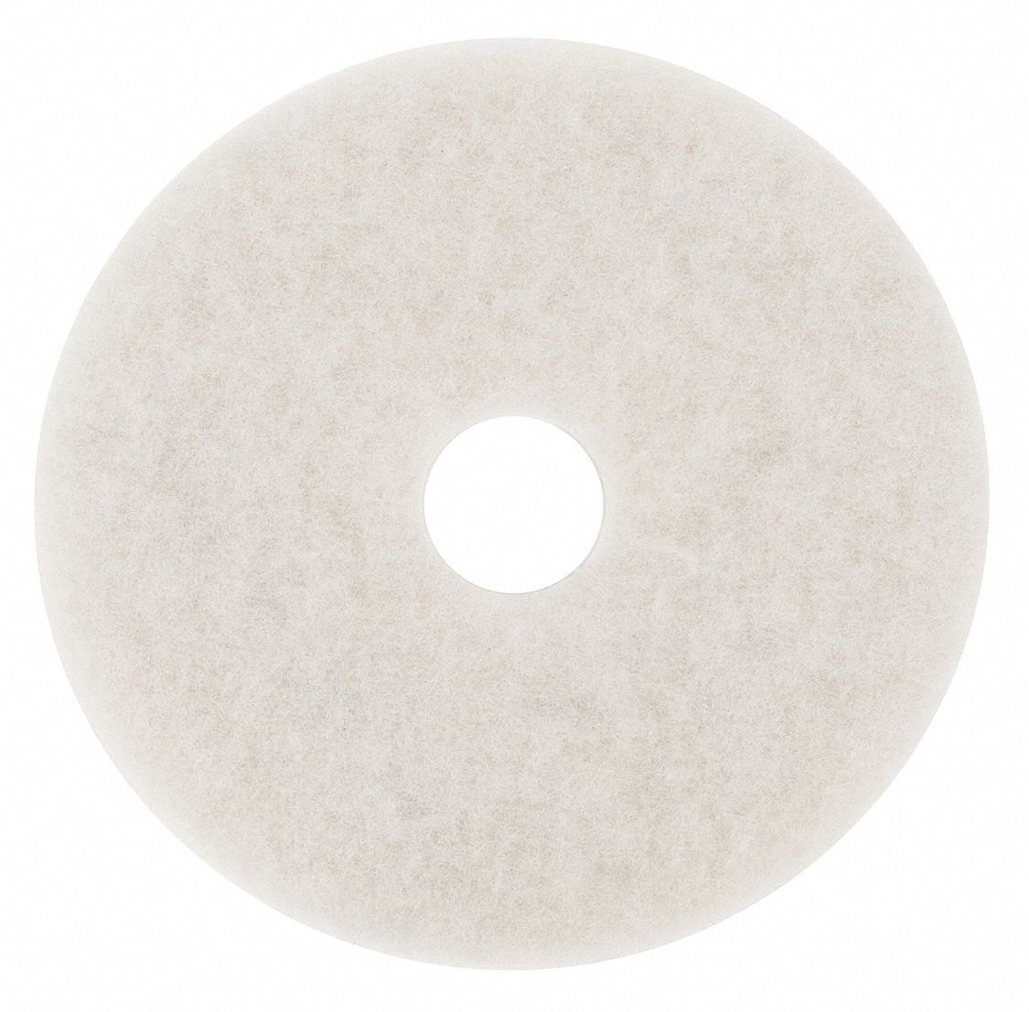 13 in Non-Woven Polyester Fiber Round Buffing and Cleaning Pad, 175 to 600 rpm, White, 5 PK