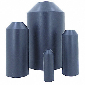 Medium Wall Heat Shrink End Cap, 500-1,000 MCM, Black, 5.12 Length