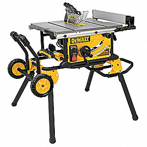 "10"" Portable Table Saw, 15.0 Amps, Blade Tilt: Right, 5/8"" Arbor Size, 4800 No Load RPM"