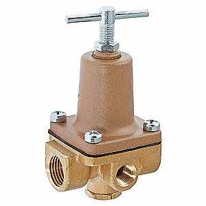 "263A Series 2-1/8""L Brass 3/8 in 3-Way Small Water Pressure Regulator, 50 to 175 psi"