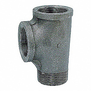 "Galvanized Malleable Iron Street Tee, 2"" Pipe Size, NPT Connection Type"