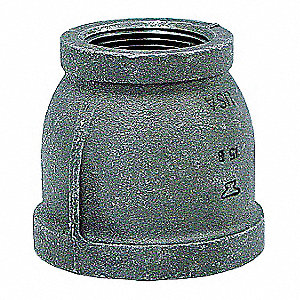 "Galvanized Malleable Iron Reducer Coupling, 1-1/4"" x 1/2"" Pipe Size, FNPT Connection Type"