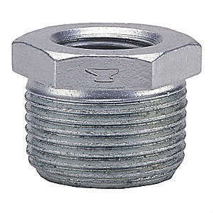 "Galvanized Malleable Iron Hex Bushing, 3/4"" x 1/8"" Pipe Size, MNPT x FNPT Connection Type"