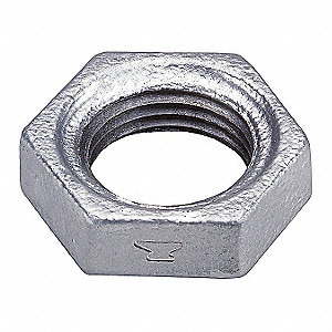 "Galvanized Malleable Iron Hex Locknut, 2"" Pipe Size, FNPT Connection Type"