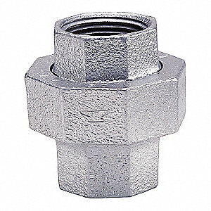 "Galvanized Malleable Iron Union, 2-1/2"" Pipe Size, FNPT Connection Type"