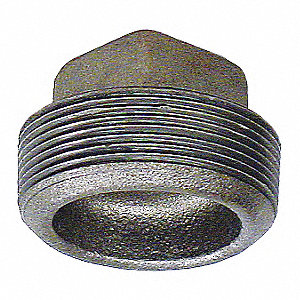 "Galvanized Steel Square Head Plug, 1/4"" Pipe Size, MNPT Connection Type"