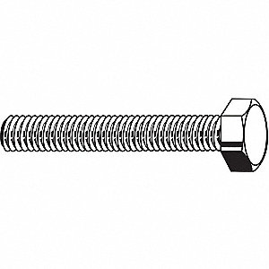 "1/4""-20, Steel Hex Tap Bolt, A307A, 5""L, Zinc Plated Finish, 25 PK"