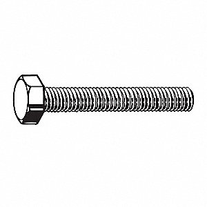 "1-1/4"" Stainless Steel Hex Head Cap Screw, 18-8, 3/8""-24 Dia/Thread Size, 50 PK"