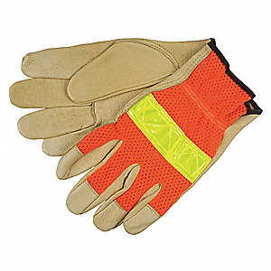 Pigskin Leather Work Gloves, Slip-On Cuff, Hi-Visibility Orange/Tan, Size: S, Left and Right Hand