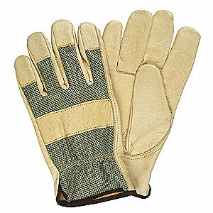 Pigskin Leather Driver's Gloves with Slip-On Cuff, Green/Tan, S