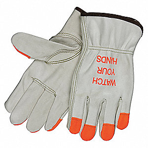 Cowhide Leather Work Gloves, Slip-On Cuff, Beige, Size: XS, Left and Right Hand