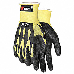 Nitrile Cut Resistant Glove, Yellow/Black, L, PR 1