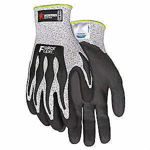 Cut Resistant Glove, Black/White, L, PR 1