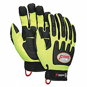 Leather Palm Gloves,Hi Vis,TPR Pad,M,PR