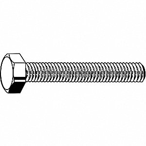 65mm Steel Hex Head Cap Screw, Class 8.8, M8-1.25 Dia/Thread Size, 100 PK