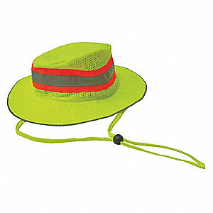 Sun Protection Hat, Polyester with Mesh Venting Panels, Hi-Visibility Lime, L/XL