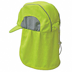 High-Performance Hat with Neck Shade, Moisture Wicking Fabric, Hi-Visibility Lime, Universal,1 EA