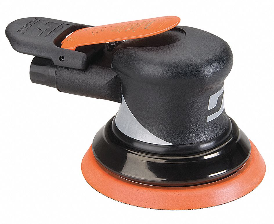 Air Random Orbital Sander, 5 in Vinyl or Hook, 3/8 in Orbit Dia., Non-Vacuum, 0.28 hp HP