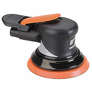"Air Random Orbital Sander, 5"" Vinyl or Hook, 3/8"" Orbit Dia., Non-Vacuum, 0.28 HP"