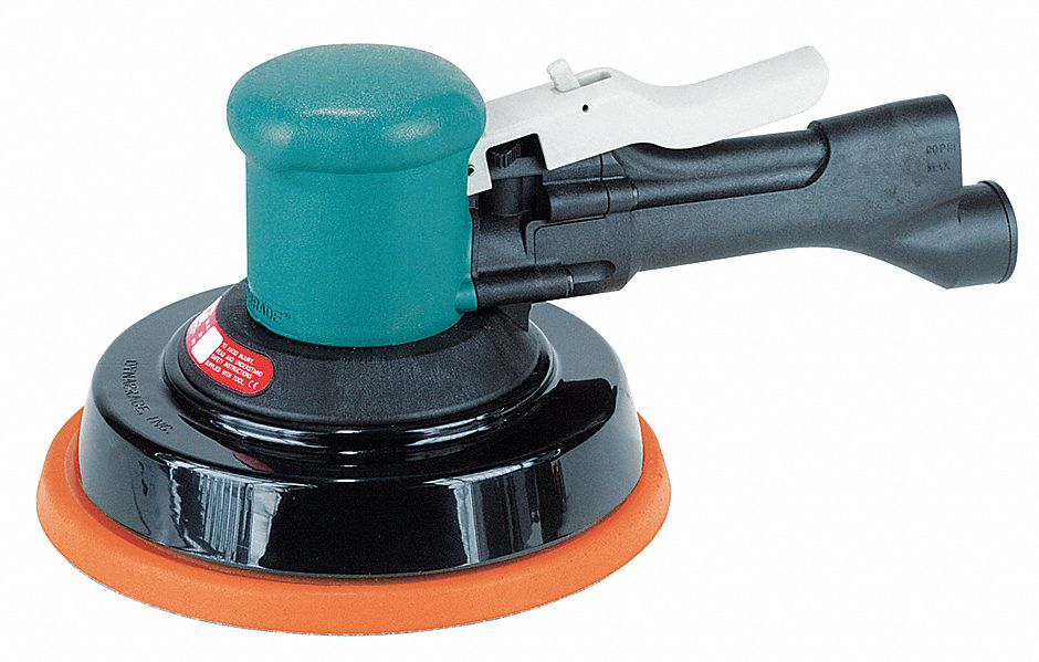 Air Random Orbital Sander, 8 in Vinyl or Hook, 3/16 in Orbit Dia., Vacuum, 0.45 hp HP