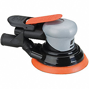 "Air Random Orbital Sander, 5"" Vinyl or Hook, 3/8"" Orbit Dia., Vacuum, 0.26 HP"