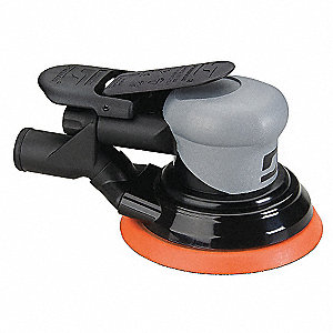 "Air Random Orbital Sander, 5"" Vinyl or Hook, 3/32"" Orbit Dia., Vacuum, 0.26 HP"