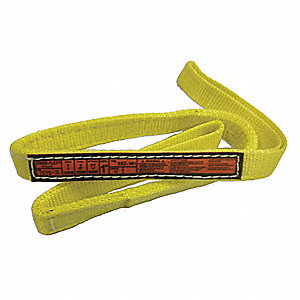 8 ft. Heavy-Duty Nylon Flat Eye and Eye Web Sling with 3200 lb. Vertical Hitch Capacity, Yellow