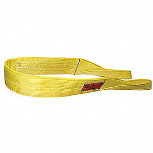 18 ft. Heavy-Duty Nylon Flat Eye and Eye Web Sling with 6400 lb. Vertical Hitch Capacity, Yellow