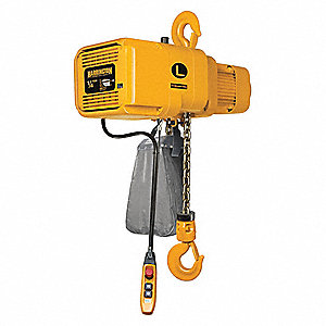 H4 Electric Chain Hoist, 500 lb. Load Capacity, 460V, 10 ft. Hoist Lift, 36/6 fpm