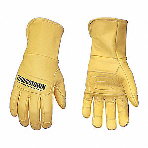 Goatskin Leather Work Gloves, Safety Cuff, Tan, Size: XL, Left and Right Hand