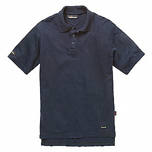 "Navy Flame-Resistant Polo Shirt, Size: 3XLT, Fits Chest Size: 51"", 8.2 cal./cm2 ATPV Rating"