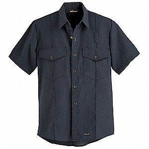 FR Short Sleeve Shirt,Black,66 in.,Snaps