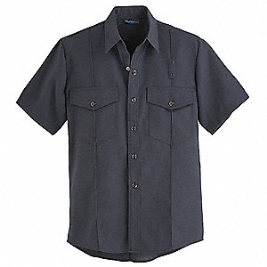 "Navy Flame-Resistant Collared Shirt, Size: 64"", Fits Chest Size: 64"", 4.1 cal./cm2 ATPV Rating"