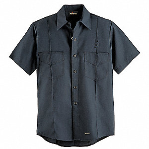 "Navy Flame-Resistant Collared Shirt, Size: 40"", Fits Chest Size: 40-1/4"", 4.1 cal./cm2 ATPV Rating"