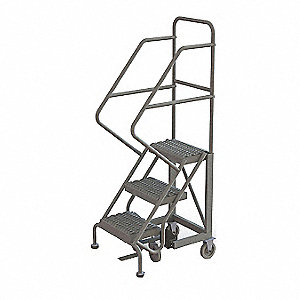 Rolling Ladder,3 Step,Steel,Serrated