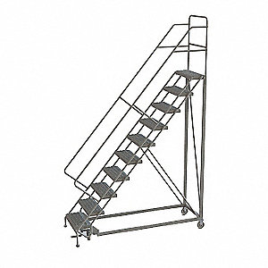 "10-Step Rolling Ladder, Perforated Step Tread, 136"" Overall Height, 450 lb. Load Capacity"