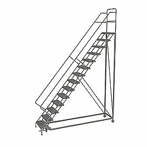 Rolling Ladder,14 Step,Steel,Serrated