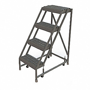 "4-Step Rolling Ladder, Serrated Step Tread, 40"" Overall Height, 450 lb. Load Capacity"