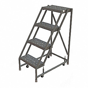"4-Step Rolling Ladder, Perforated Step Tread, 40"" Overall Height, 450 lb. Load Capacity"