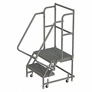 Rolling Ladder,2 Step,Steel,Serrated