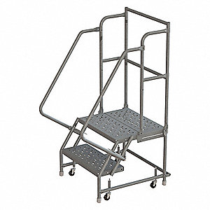 "2-Step Rolling Ladder, Perforated Step Tread, 56"" Overall Height, 450 lb. Load Capacity"