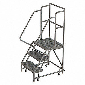 "3-Step Rolling Ladder, Serrated Step Tread, 66"" Overall Height, 450 lb. Load Capacity"