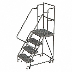 "4-Step Rolling Ladder, Serrated Step Tread, 76"" Overall Height, 450 lb. Load Capacity"