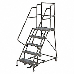 Rolling Ladder,5 Step,Steel,Perforated