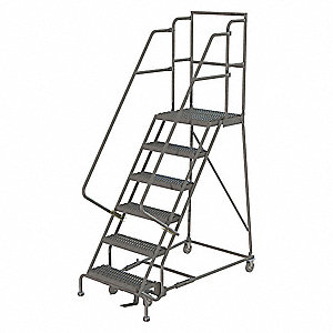 "6-Step Rolling Ladder, Serrated Step Tread, 96"" Overall Height, 450 lb. Load Capacity"